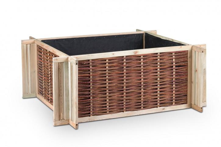 Hochbeetrahmen aus Holz und Weide in A-Qualität 120 x 80 x 60 cm