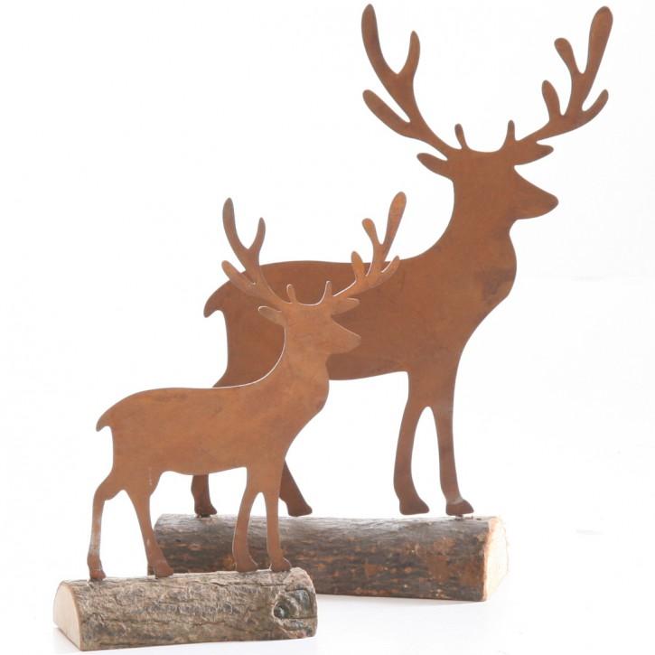 Hirsch auf Baumstamm 14x4x17 cm Edelrost