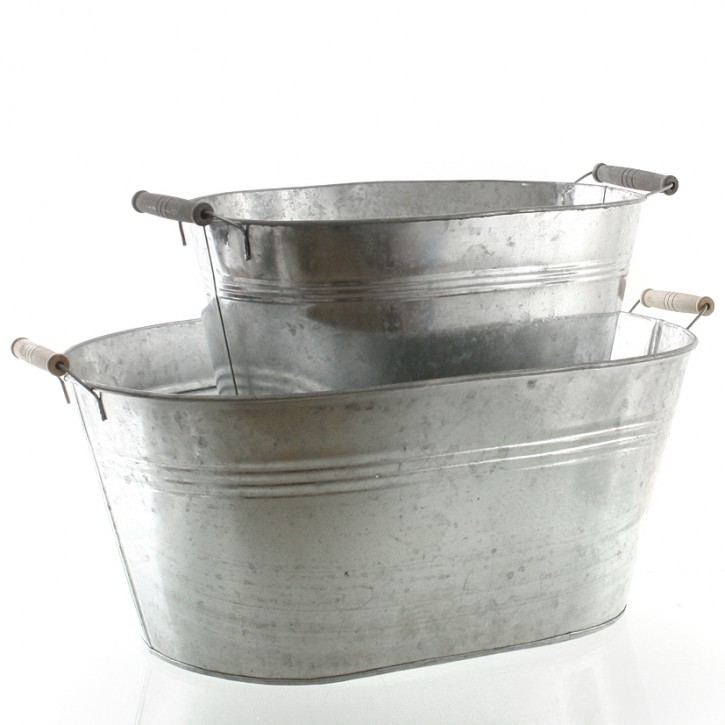 Metallwanne verzinkt mit Griffen 47 cm