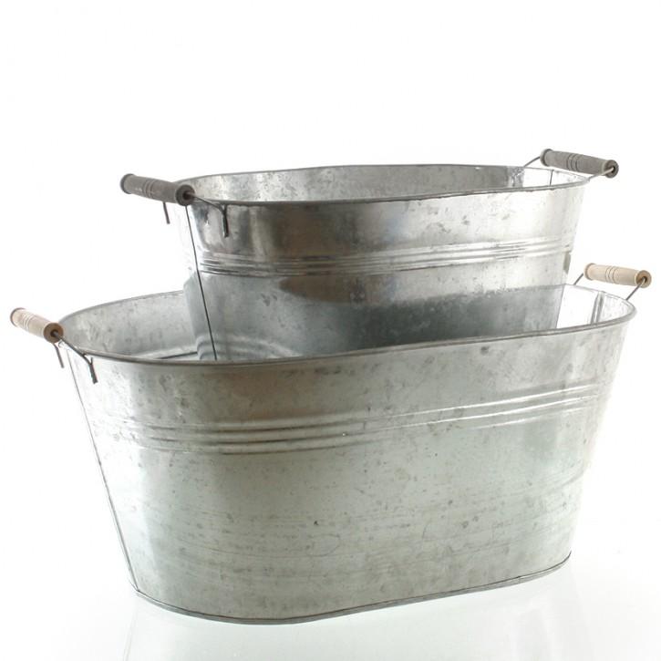 Metallwanne verzinkt mit Griffen 58,5 cm