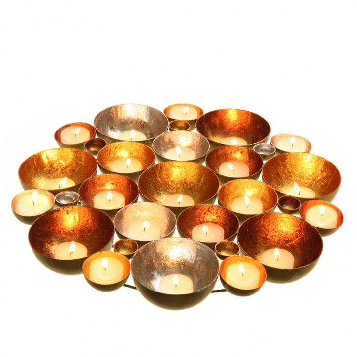 Teelichthalter Tischdeko antik-gold 30 cm