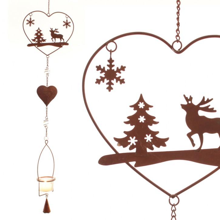 Teelichthänger Herz mit winterlichen Motiven