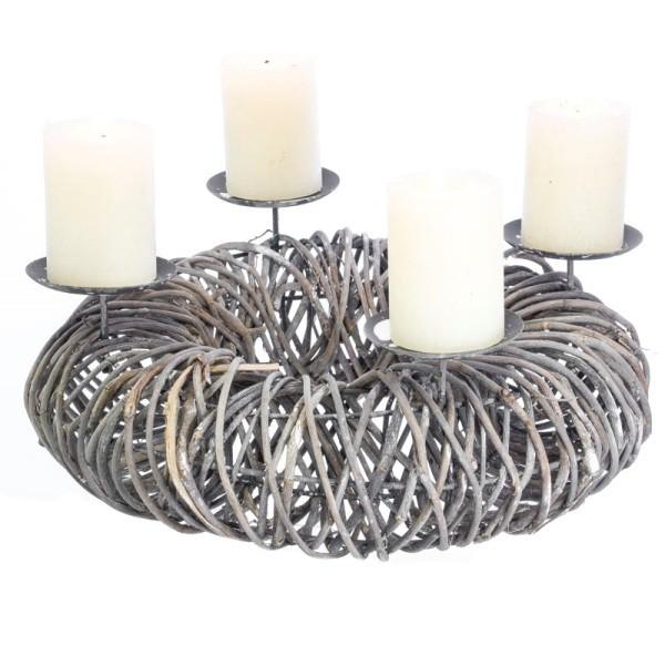 "Adventskranz ""Steel Rattan"" aus Rattangeflecht mit 4 Metall Kerzenhalter (ohne Kerzen)"