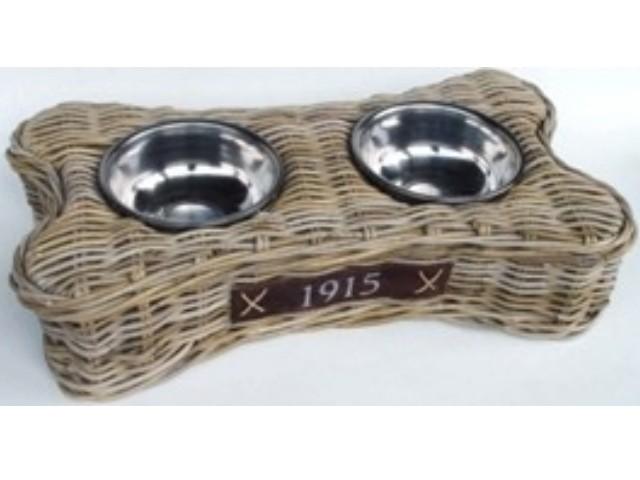 Hundenapf Freßnapf Form Knochen aus Rattan