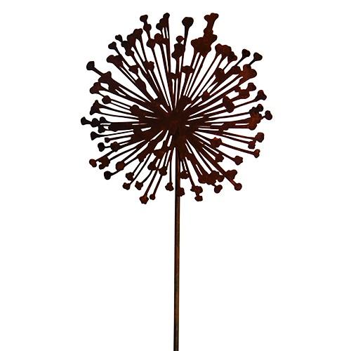 Edelrost Blume Allium 30 cm Ø am Stab