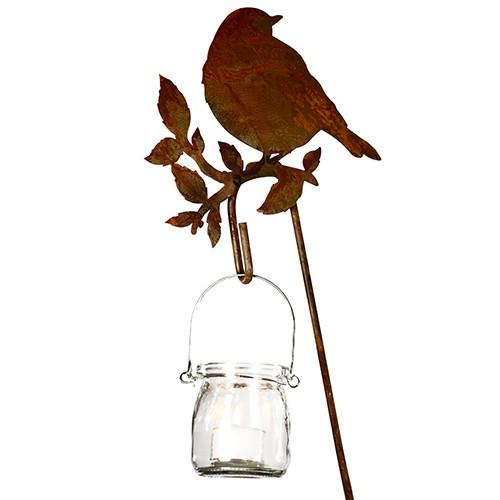 Edelrost Gartenstecker Vogel auf Ast mit Hakenstab ohne Glas